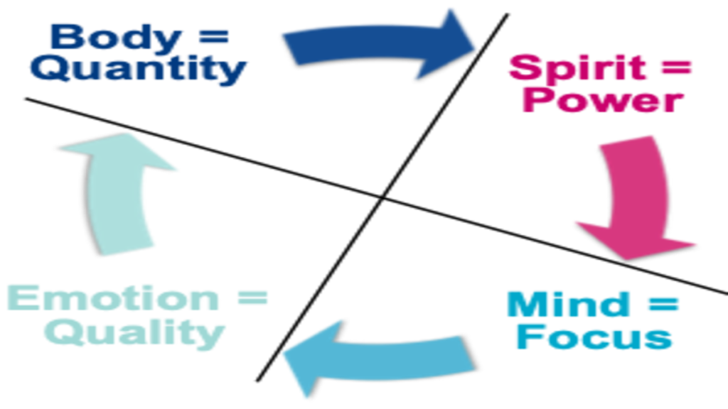 Use the four quadrants to transform your energy with the Welbee learning centre. Picture of the four quadrants - Body, Mind, Emotion and Spirit generating your energy quantity, focus, quality and power.