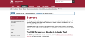 Staff wellbeing survey - running your own. Picture of the Health and Safety Executive website where you can find their indicator tool.