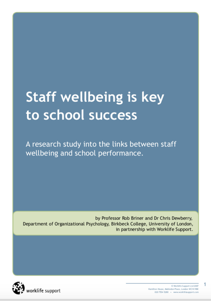 Evidence for improving staff wellbeing - picture of the Birbeck and Worklife support research report.