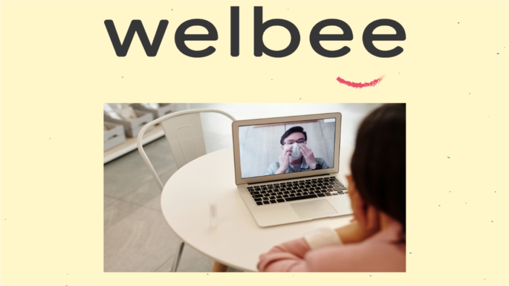 Communicating remotely and how to do it effectively from the Welbee Learning Centre. A picture of a teacher on a video call with another teacher in a mask.